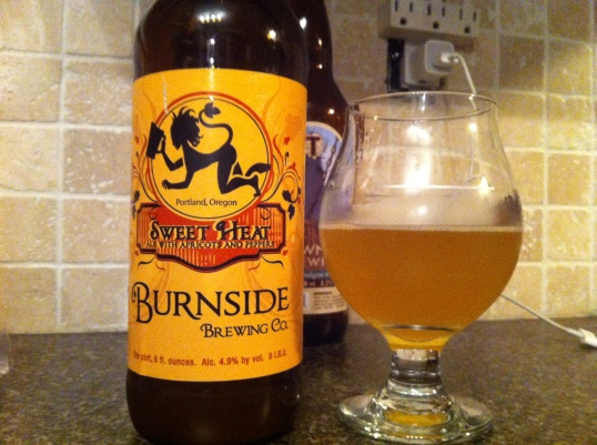 Sweet Heat Wheat Ale with Apricots and Habanero Peppers by Burnside Brewing Company of Portland Oregon